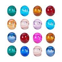 ARRICRAFT 100PCS 15x10mm Mixed Color Rondelle Glass Large Hole European Beads, No Metal Core
