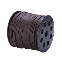 NBEADS 2.7mm 98 Yards/Roll Coconut Brown Color of Lace Flat Faux Suede Leather Cord, One Side Covering with Imitation Leather Beading Thread Cords Braiding String for Jewelry Making