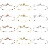 NBEADS 12 Pcs Slider Bracelets, Slider Adjustable Bracelets Making with Rhinestone Charms Ends Slider Extender Chains for Jewelry Making DIY Findings, 24cm