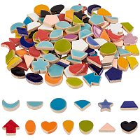 PandaHall Elite Ceramic Mosaic Tiles for Crafts, 0.55lb Mixed Shape Porcelain Cabochons, Mosaic Tile Supplies for DIY Crafts, Plates, Picture Frames, Flowerpots, Handmade Jewelry