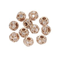 NBEADS 30 Pcs 12mm Light Gold Grade A Rhinestone Pave Crystal Brass Beads European Charms Rondell Beads fit Bracelet Jewelry Making