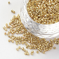 Electroplate Glass Bugle Beads, Uniform Seed Bead Size, Metallic Colours, Gold, 1~1.5x1.5~2mm, Hole: 0.5mm; about 50g/bag, about 5000pcs/bag