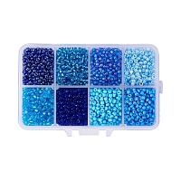 ARRICRAFT 1 Box About 3600pcs 8/0 3mm Mixed Blue Round Glass Seed Beads