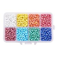 ARRICRAFT 1 Box About 1400pcs 6/0 4mm Mixed Color Glass Seed Beads Opaque Colours Lustered Loose Spacer Beads