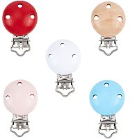 PandaHall Elite 20pcs 5 Colors Wood Pacifier Suspender Clips, Pacifier Holder Clips Teething Beads Clips for Making Pacifier Holders Bib Clips Toy Holder