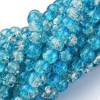 Arricraft Baking Painted Crackle Glass Beads Strands, Round, Dark Turquoise, 8mm, Hole: 1.3~1.6mm, about 100pcs/strand, 31.4 inches