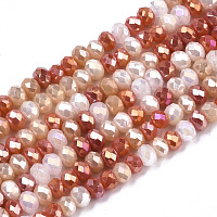 ARRICRAFT Electroplate Glass Beads Strands, AB Color Plated, Faceted, Rondelle, Coral, 3x2.5mm, Hole: 0.7mm, about 188~190pcs/16.93 inches~17.71 inches(43~45cm)