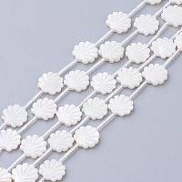 ARRICRAFT Natural White Shell Beads, Mother of Pearl Shell Beads, Shell Shaped, Seashell Color, 12x12x3mm, Hole: 1mm.