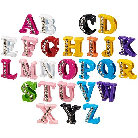 NBEADS 130 Pcs Alloy Rhinestone Slide Charms, Alphabet A-Z Letters Spray Painted Zinc Slide Loose Beads for DIY Bracelet Wristbands Necklace Choker Jewelry Making