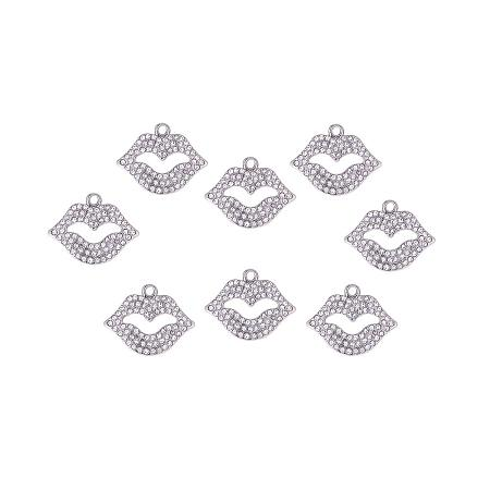 PH PandaHall 15pcs Crystal Sexy Lip Kiss Charms Rhinestone Mouth Pendants Beads Findings for DIY Bracelet Necklace Making Valentine's Day