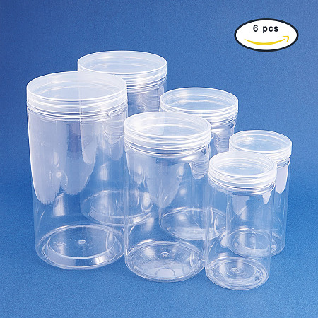BENECREAT 6 PACK Clear Plastic Box for candy cylinders, display, storage, packaging, organizing and showcasing (3 Size)