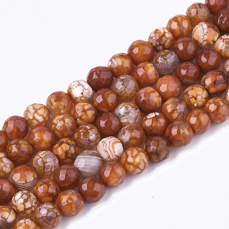 NBEADS Natural Crackle Agate Beads Strands, Dyed, Faceted, Round, SaddleBrown, 6mm, Hole: 1mm; about 63pcs/strand, 14.5