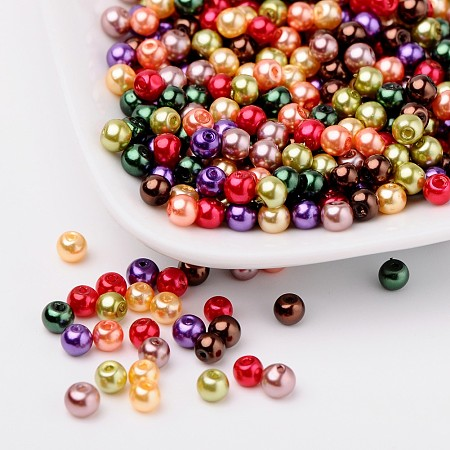 ARRICRAFT 1Bag/100pcs Fall 4mm Mixed Czech Round Pearlized Glass Pearl Beads Imitational Glass Pearl Bead Spacers for Jewelry Makings Hole: 1mm