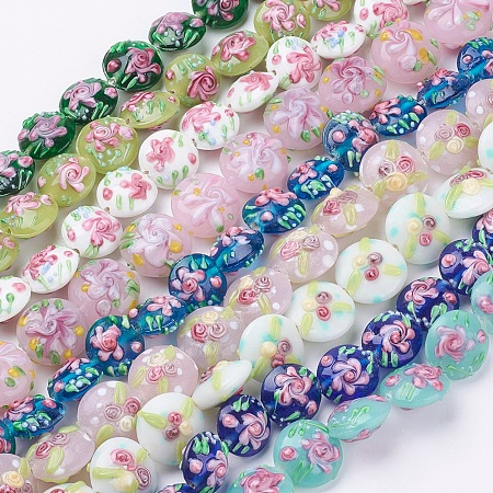 ARRICRAFT Handmade Bumpy Lampwork Beads Strands, Flat Round with Flower, Mixed Color, 17~20.5x10~14mm, Hole: 1.4mm