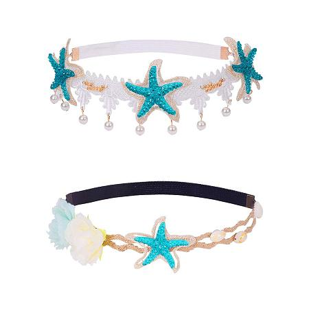PandaHall Elite 2 Strand Seashell Wave Headband Ocean Acrylic Starfish Shell Lace Headband Elastic Hairband Flowers Starfish Seashell forehead Bands Mermaid Hair Accessories