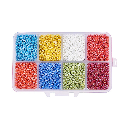 PandaHall Elite Mixed 12/0 Round Glass Seed Beads, Mixed Color, 2mm, Hole: 1mm; about 12500pcs/box