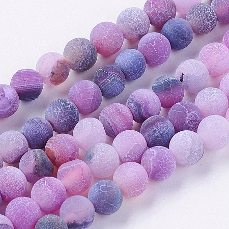 Nbeads Natural Weathered Agate Beads Strands, Dyed, Frosted, Round, DarkViolet, 6mm, Hole: 1mm; about 64pcs/strand, 14.6