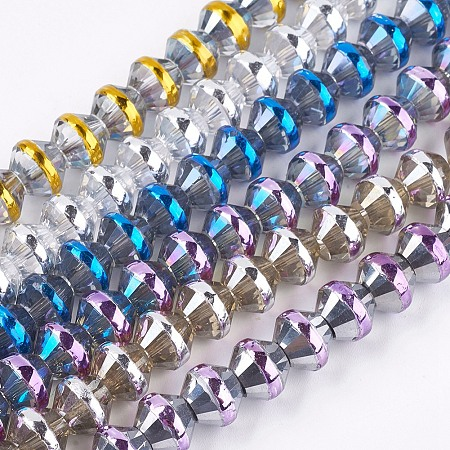 ARRICRAFT Electroplate Glass Beads Strands, Bicone, Mixed Color, 10.5x8.5mm, Hole: 1mm