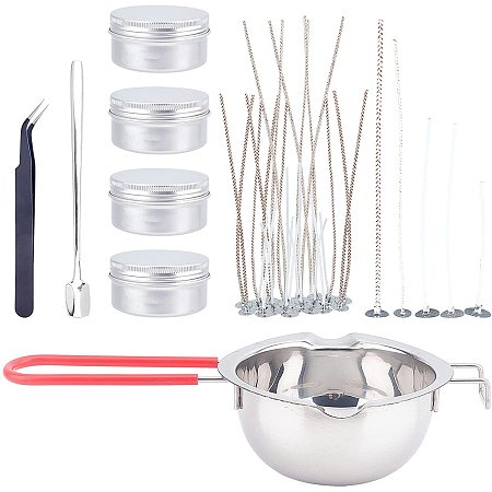 DIY Candle Making, with Candle Wick, Aluminium Cans, Stainless Steel Beading Tweezers & Spoon & Melting Pot, White, 62.5x12.5mm