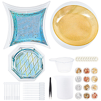 Olycraft Dish Silicone Molds, with Disposable Plastic Transfer Pipettes and Latex Finger Cots, Transparent Plastic Round Stirring Rod and UV Gel Nail Art Tinfoil, Mixed Color, 201x201x13mm