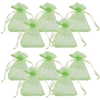 Organza Bags, with Ribbons, Yellow, 9x7cm