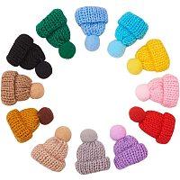 NBEADS 1 Bag 60 Pcs Mini Christmas Knitting Wool Yarn Hats, Cute Doll Hats Small Handmade Wool Woven Hat Decorations for Miniature Work DIY Phone Case Brooch Craft Art Jewelry Making, 5 Pcs/Color