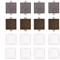 NBEADS 30 Sets 1 Inch (25mm) Square DIY Pendant Making Accessories, 30 PCS Alloy Findings Trays and 30 PCS Transparent Glass Cabochons for Photo Pendant Jewelry Craft Making, Mixed Color
