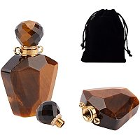 NBEADS 2 Pcs 2ml Perfume Bottle Pendants, Faceted Natural Gemstone Pendants Openable Bottle Charms with Velvet Pouche for Necklace Jewelry Decorantion