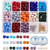 NBEADS 490 Pcs Cylindrical Glass Beads, Opaque Solid Pony Beads and Round Brass Spacer Beads with Clear Elastic Crystal Thread for Bracelet Necklace Jewelry Making