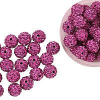 ARRICRAFT 100 Pcs 10mm Fuchsia Shamballa Pave Disco Ball Clay Beads, Polymer Clay Rhinestone Beads Round Charms Jewelry Makings