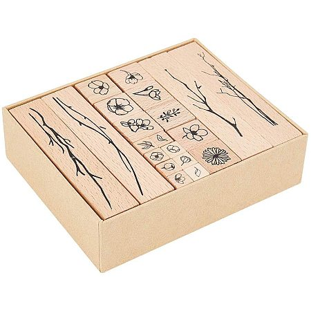 NBEADS 20 Pcs Mixed Printed Wooden Stamps, 3 Sizes Flower/Branch Pattern Printed Ink Stamps Decorative Mounted Rubber Stamp Set for DIY Craft, Letters Diary and Craft Scrapbooking, Burly Wood