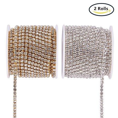 BENECREAT 2 Rolls 10 Yard 3.5mm Crystal Rhinestone Close Chain Clear Trimming Claw Chain Sewing Craft about 2100pcs Rhinestones - Crystal (Silver & Gold Bottom)