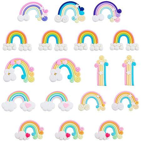 NBEADS 40 Pcs Rainbow Slime Charms Handmade Polymer Clay Beads Colorful Flatback Polymer Clay Rainbow Cloud Ornaments for DIY Crafts