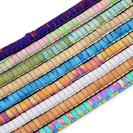 ARRICRAFT Vacuum Plating Non-magnetic Synthetic Hematite Beads Strands, Spacer Beads, Rectangle, Mixed Color, 5x2x2mm, Hole: 0.8mm; about 189pcs/Strand, 15.75 inches(40cm)