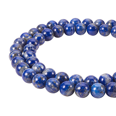 PandaHall Elite 8mm Natural Lapis Lazuli Bead Strands Grade A Round Loose Beads Approxi 16 inch 48pcs 1 Strand for Jewelry Making