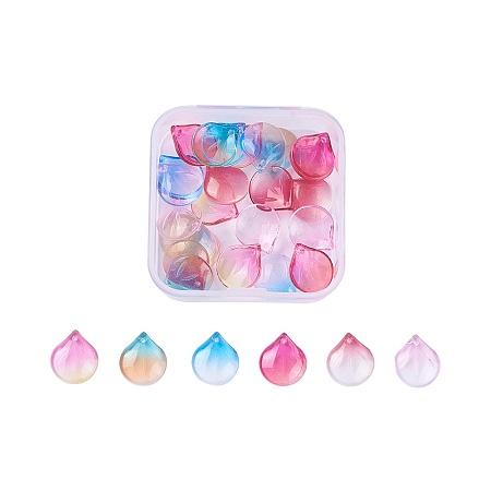 Nbeads Glass Charms, Petal, Mixed Color, 15.5x13.5x3.5mm, Hole: 1.2mm, 30pcs/box