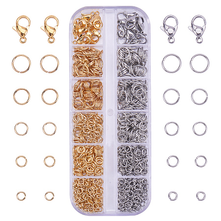 PandaHall Elite 720 Pcs 304 Stainless Steel Open Jump Ring Diameter 4~8mm with 20 Pcs Lobster Claw Clasp 2 Colors for Jewelry Making