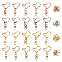 CHGCRAFTAlloy Heart Keychain Clasp Findings, with Double Ended Swivel Eye Hook and Iron Jump Rings, Mixed Color, 40x24x8.5mm, Jump Ring: 8x0.6mm; 4 colors, 10sets/color, 40sets/bag