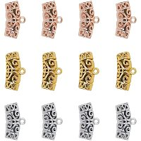Unicraftale Alloy Hanger Links, Curved Tube Filigree Bail Beads, Mixed Color, 13x24x8mm, Hole: 2mm, Inner Diameter: 5.5mm; 30pcs/box