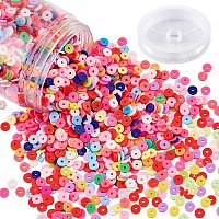 NBEADS About 200g Handmade Polymer Clay Beads, Flat Round Clay Beads with Clear Elastic Crystal Thread for Jewelry Making