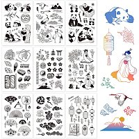 GLOBLELAND 9 Sheets Oriental Style Silicone Clear Stamps Seal for Card Making Decoration and DIY Scrapbooking(The Panda, Red-Crowned Cranes, Sushi, Geisha, The Fan, Cloud, The Lantern)