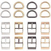 NBEADS 8 Pcs Metal D Ring, 8 Pcs Roller Buckles Tir Glide Slide Buckle for DIY Hardware Belt Adjuster Sewing Accessory