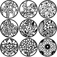 BENECREAT 9PCS 12 Inches Mixed Round Painting Stencil Set, Flower Painting Templates for Art Craft Painting Scrabooking
