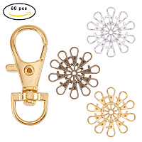 PandaHall Elite 60 Pcs Alloy Swivel Lobster Claw Clasps with Snap Hook 35x13mm 3 Colors