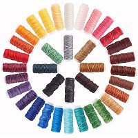 PandaHall Elite 36 Rolls 38 Yards/Roll 0.6mm Wax Coated Cords Sewing Polyester Thread Leather Sewing Thread Colorful Jewelry Wax Strings for DIY Bracelets Handcraft, 472 Yards Totally