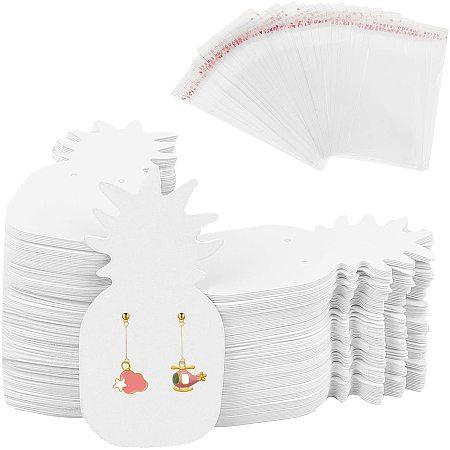 PandaHall Elite 400pcs/set Pineapple Shaped Earring Holder Cards, White Cardboard Earring NULL