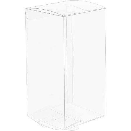 BENECREAT 20PCS 2.7x2.7x5.5 Inch Rectangle Clear Plastic Favor Boxes Gift Boxes for Wedding Birthday Party Cookies Chocolate, Home Decoration