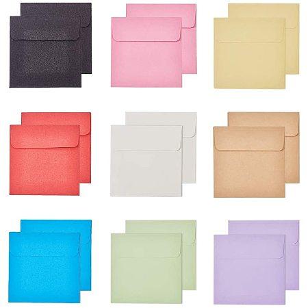 PandaHall Elite 90pcs Square Paper Envelope 10cm Gift Invitation Envelope for Wedding Party, 9 Colors