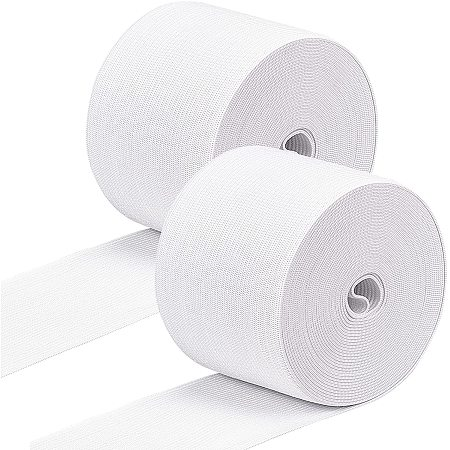 BENECREAT 2 Rolls 2.4 Inch x 5.5 Yard Flat Elastic Rubber Band Braided Stretch Strap Fabric Band for DIY Sewing Project Waist Band Making, White