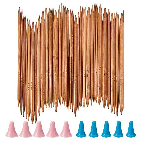 NBEADS 75pcs Bamboo Double Pointed Knitting Needles (15 Sizes from 2mm to 10mm) with 10pcs Needle Caps, Knitting Needle Point Protectors and Knitting Crotchet Locking Stitch Markers